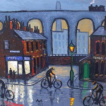 James Downie Original Oil Painting Cycling Through Town